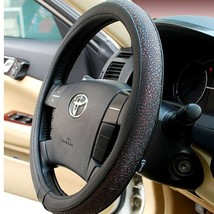 PANDA SUPERSTORE Carved Design Steering Wheel Cover,Classic Red image 2