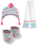Build a Bear White Fair Isle Hat Scarf Boot Set Teddy Size Outfit Doll C... - $34.95