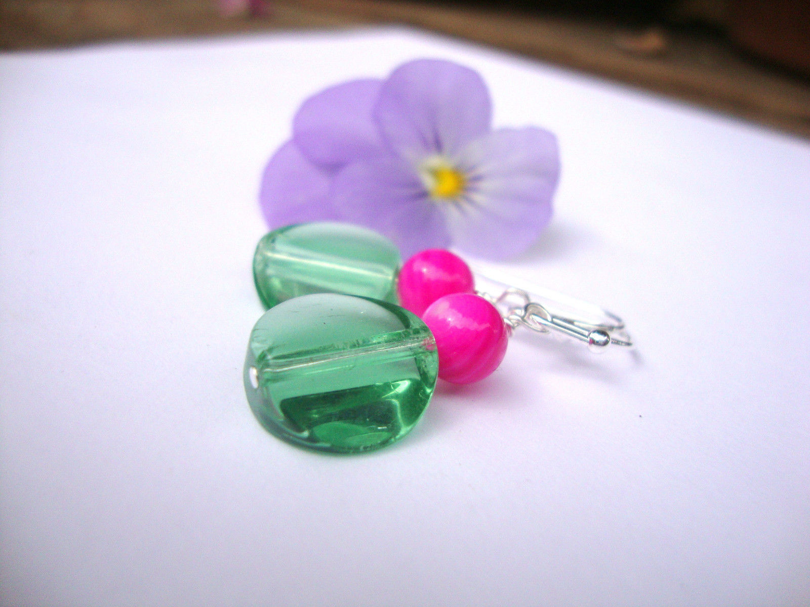 Round Coin Transparent Mint Green Glass Round Hot Pink Silver Dangle Earrings