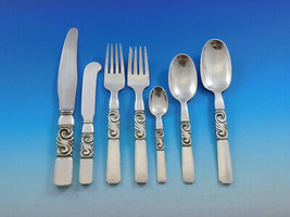 Scroll by Georg Jensen Danish Sterling Silver Flatware Set Service 56 Pi... - $9,995.00
