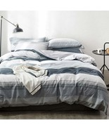 Duvet Cover Set Full/Queen Size 100% Cotton Bedding Set Gray Blue White ... - $151.42+