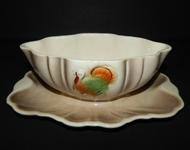 Gravy Boat attached Underplate Ceramic Pottery Lane & Company Turkey Cal... - $26.72
