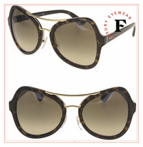 PRADA SOFT POP EVOLUTION 18S Sunglasses Brown Havana Gold PR18SS Geometric  - $217.80