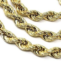"18K YELLOW GOLD CHAIN NECKLACE 7 MM BIG BRAID ROPE LINK, 23.6"", MADE IN ITALY image 2"