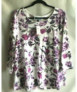 Karen Scott Knit Top Size 1X Floral Purple White Vacation Comfort Travel... - $14.60