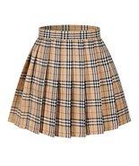 Girl's School Uniform Plaid Pleated Costumes Skirts (M, Yellow mixed white) - $20.78