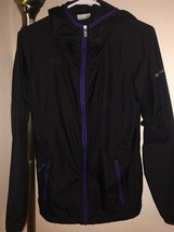 Women's Columbia Sky Watcher Hooded Jacket Sz Med - Black W/PURPLE Trim - $39.59