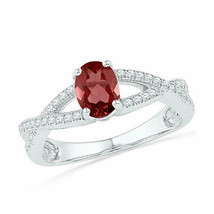 10kt White Gold Womens Oval Lab-Created Garnet Diamond Solitaire Ring 1/... - £196.52 GBP