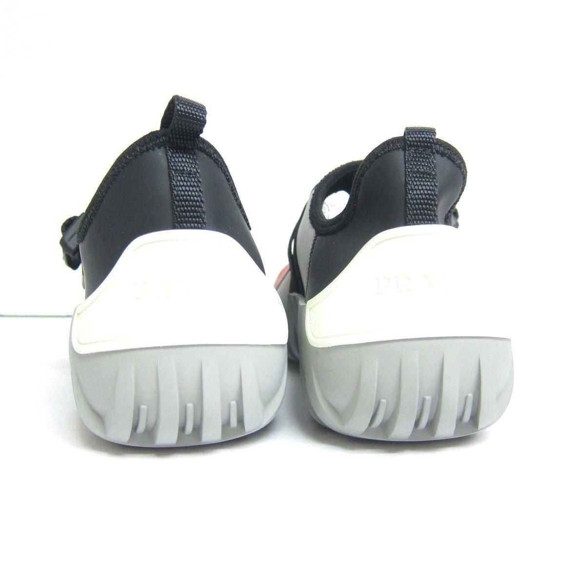 P-537248 New Prada Red Black Slip-on Sneakers Neoprene Buckle Clasp US 7 UK 6