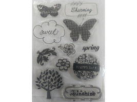 Happy Day Clear Stamp Set, Butterflies, Sentiments, Flowers, Trees and More