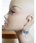 arrow head circle sequin earrings LONG drop dangles SPARKLy charm silver... - $4.99