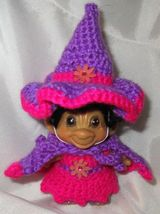SPRING WITCH TROLL 3 inch crochet dress hat cape panties tab dam doll pink 60's image 7