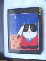 framed kitty cat art connie kluck artist black white cat southwest - $9.89