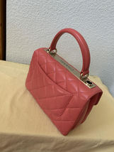 AUTH CHANEL QUILTED LAMBSKIN CORAL PINK TRENDY CC 2 WAY HANDLE FLAP BAG GHW image 3