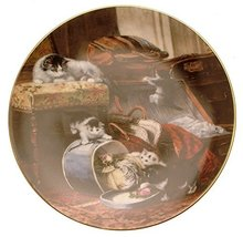 W.S. George The Victorian Cat Mischief with The Hatbox Henriette Ronner cat Plat - $31.84