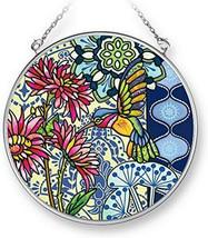 "Jardin Blue Hummingbird Sun Catcher AMIA Hand Painted Glass 4.5"" Round New - €19,83 EUR"