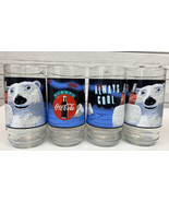 SET OF 4 Coca Cola Coke Glass Cups 16oz Always Cool Polar Bear 1995 Vint... - $18.88