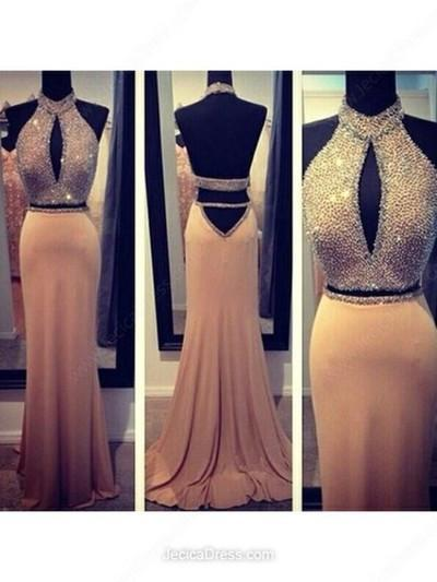 two pieces Backless Long Halter prom dresses,BD026