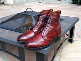 Handmade Men's Burgundy Wing Tip Heart Medallion High Ankle Lace Up Leather Boot image 4