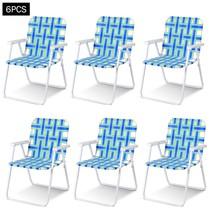 6 pcs Folding Beach Chair Camping Lawn Webbing Chair-Blue - $170.07