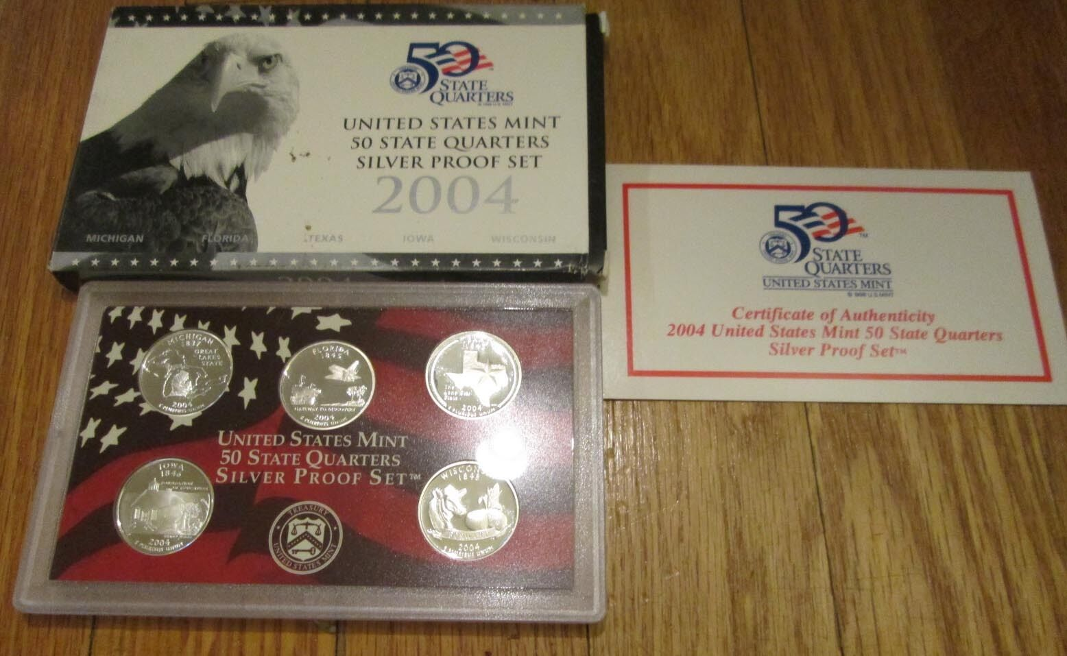 2007 Silver Proof Set U.S Mint Box and COA 10 coins 5 State Silver Quarters
