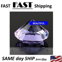 Purple -- Diamond Shaped Crystal Glass Art Paperweight Wedding Favor Sho... - $11.68