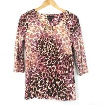 Dana Buchman Womens Top Small Chain Cheetah Print 3/4 Inch Sleeve Chain ... - $27.72