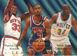 1994-95 Fleer NBA Basketball Team Leaders Gold Insert - Patrick Ewing Rider - $3.95