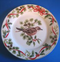 American Atelier Christmas Woodland B Wren Salad Desert Plate 5199 Bird - $36.39