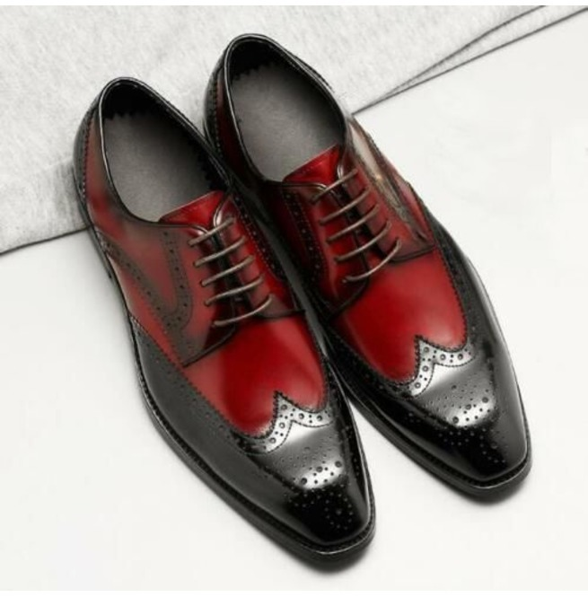 Handmade Men's Black and Red Wing Tip Brogues Style Dress/Formal Leather Sho