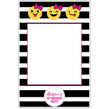 Stripes Emojis and Bows Birthday Selfie Frame Poster - $16.34+