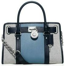 Michael Kors Hamilton Center Stripe Blue Grey Saffiano Leather Satchel Bag Nwt - $197.59
