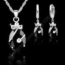 New Fashion 7 Colours Fine Oval Crystal 925 Sterling Silver Jewelry Set ... - $11.30