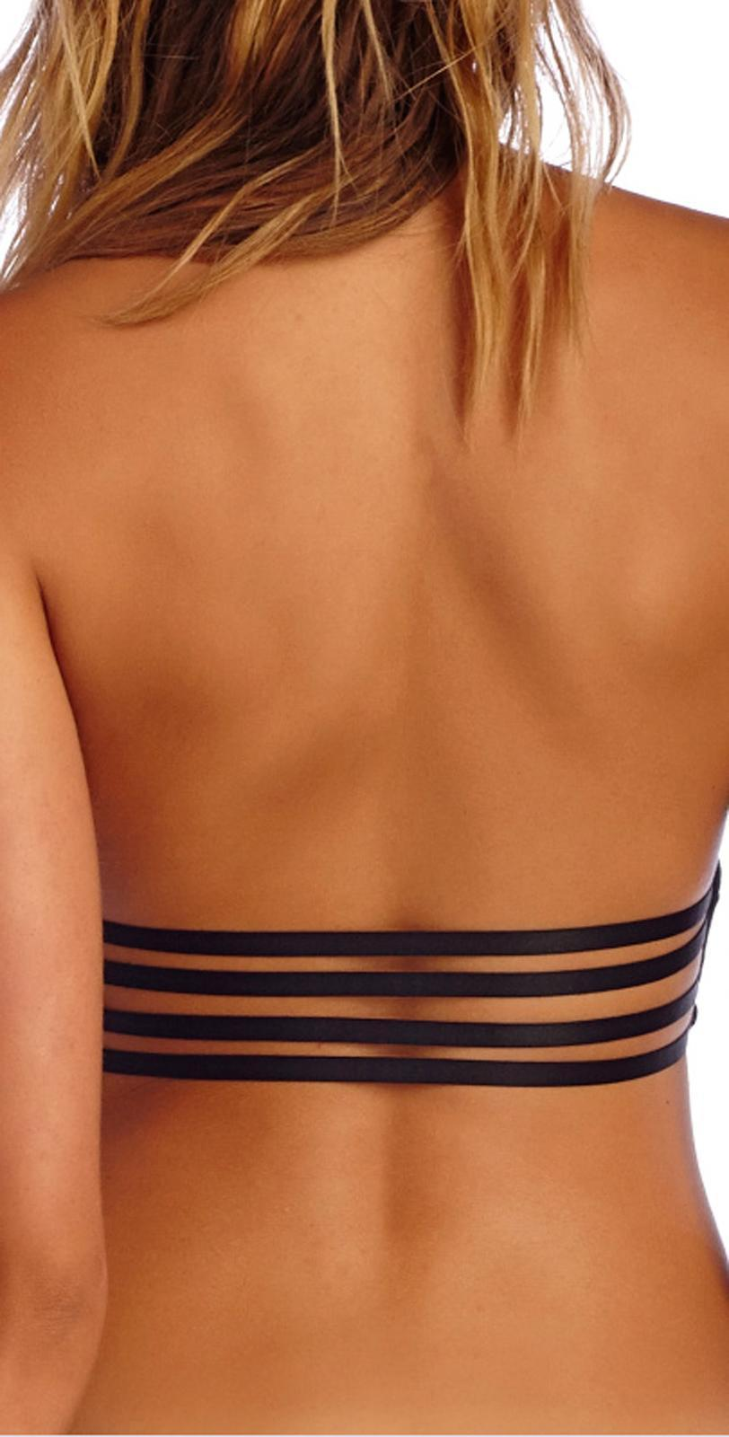 CA by VITAMIN A SWIMWEAR BLACKOUT PARKER HIGH NECK STRAPPY BACK BIKINI TOP (L)