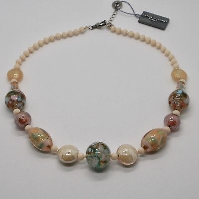 NECKLACE ANTIQUE MURRINA VENICE WITH MURANO GLASS BEIGE PINK CREAM COA77A03