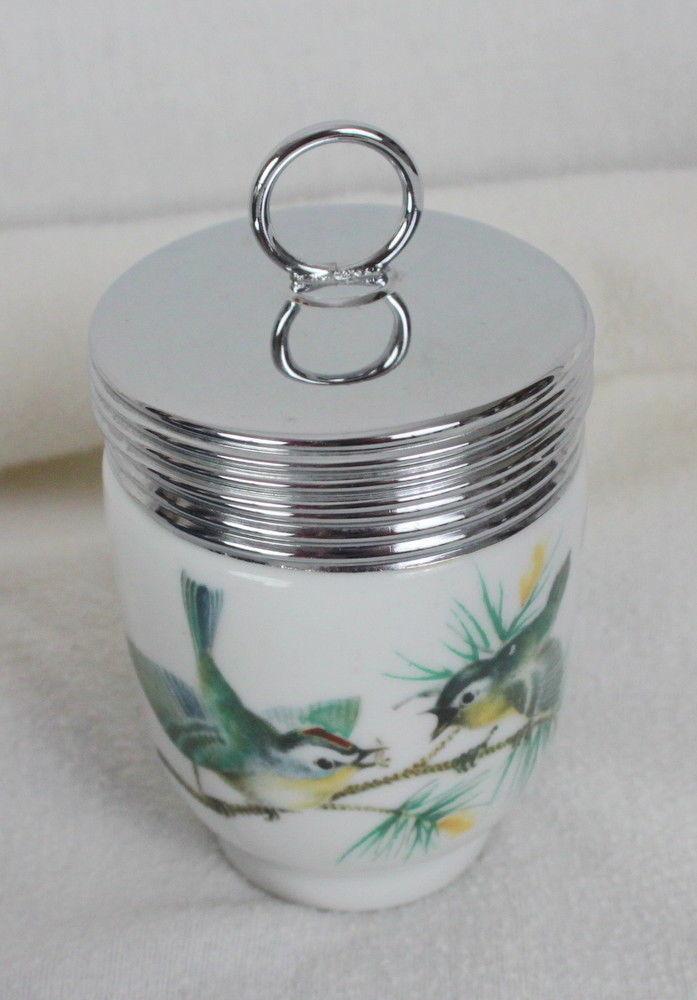 Royal Worcester King Size Egg Coddler Wren Birds England W/ Original Box