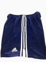 Adidas Mens XL Athletic Short Blue 3 White Stripe Drawstring - $19.79