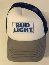 BUD LIGHT Large Logo Snapback Trucker Hat Cap Blue Vtg 70s 80s - $17.86