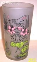1960'S Retro Hazel ATLAS-- Frosted Souvenir Gay Fad Illinois Glass Tumbler - $17.45