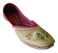 Women Shoes Ballerinas Designer Leather Khussa Handmade Flat Gold Mojari... - $29.99