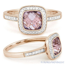 1.82ct Pink Amethyst & Round Cut Diamond Pave Halo Engagement Ring 14k R... - £406.67 GBP