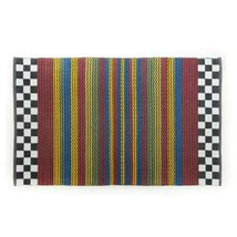 MacKenzie-Childs  Rug 5x8  Courtly CHECK Stripe Blue Red Rug Carpet Mat New - $237.60