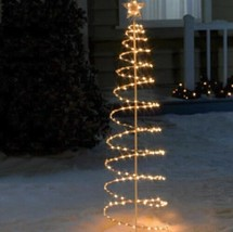 Outdoor Lighted 6 Foot Spiral Christmas Tree Sculpture Yard Decoration 4... - $69.49