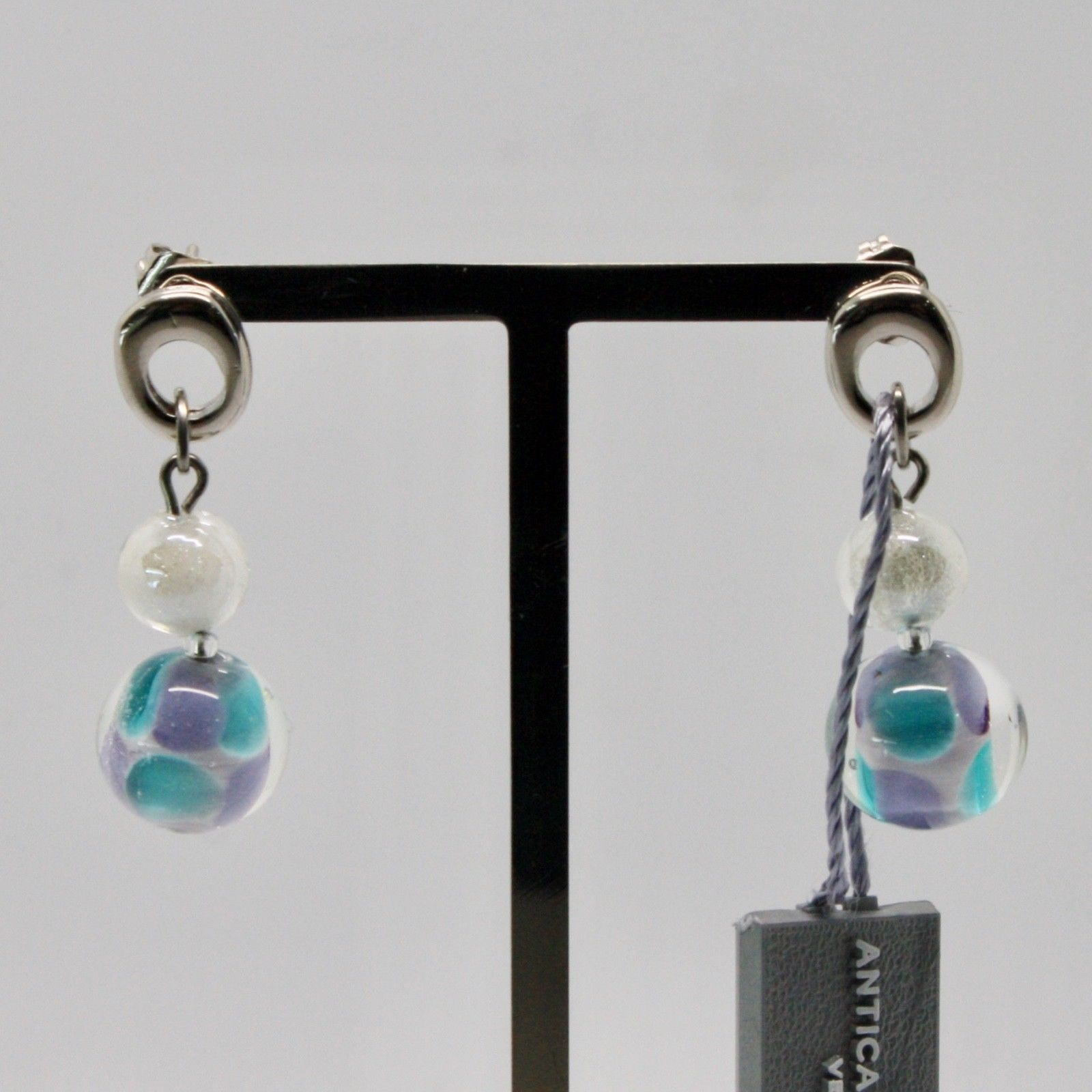ANTICA MURRINA VENEZIA EARRINGS WITH MULTICOLOR MURANO GLASS AND STEEL OR588A07