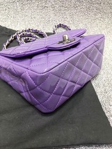 AUTHENTIC CHANEL 2017 PURPLE QUILTED PATENT LEATHER SQUARE MINI CLASSIC FLAP BAG image 5