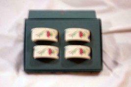 Lenox Poppies On Blue Set Of 4 Napkin Rings In Box - $36.72