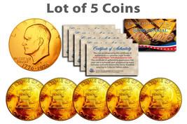 Bicentennial 1976 Eisenhower IKE Dollar Coin 24K GOLD PLATED w/Capsules ... - £22.43 GBP
