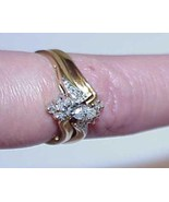 14k .33Ct Diamond Marquise 2 Ring Set & Enhancer Yellow Gold Size 8 Grea... - $346.49