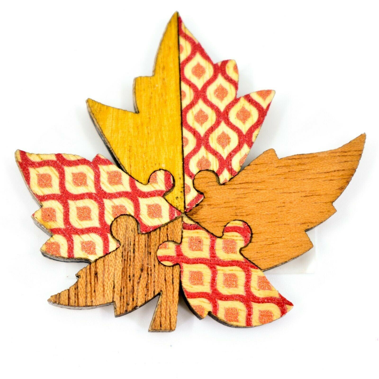 Northwoods Wood Cutout Maple Leaf Jigsaw Puzzle Design Magnet