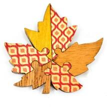 Northwoods Wood Cutout Maple Leaf Jigsaw Puzzle Design Magnet image 1